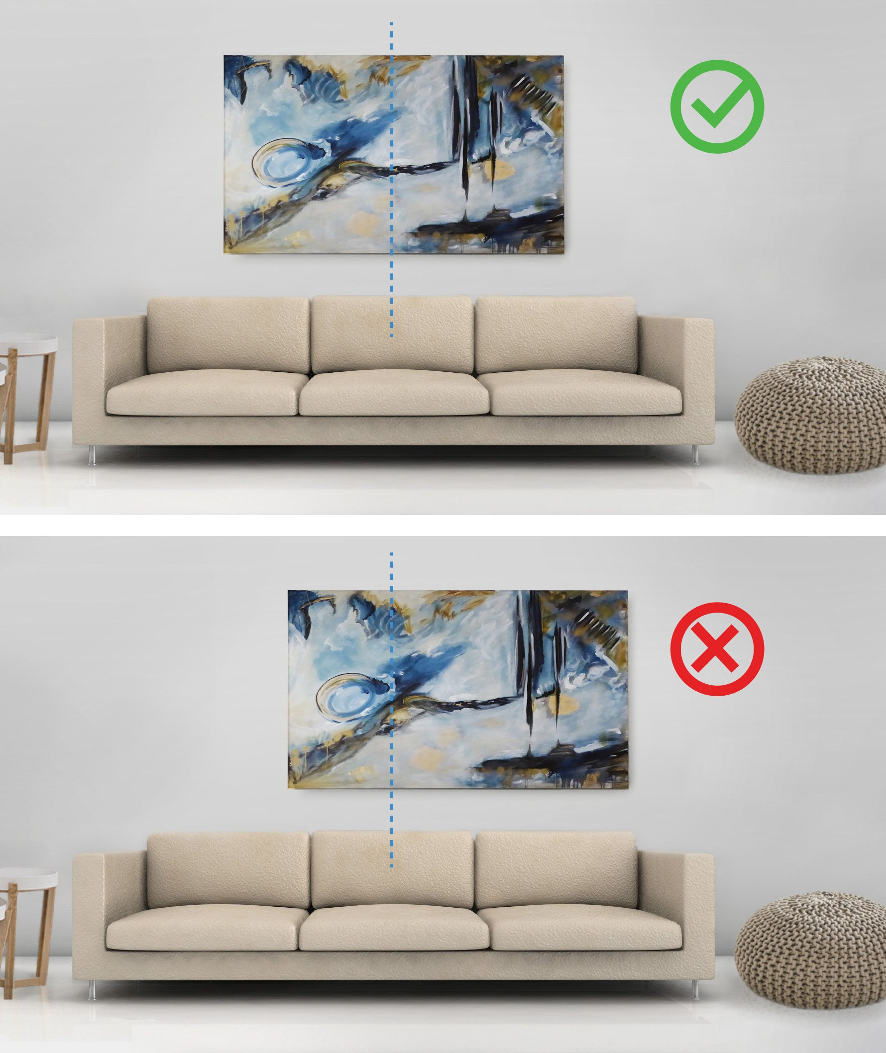 Aligning artwork with furniture or the wall