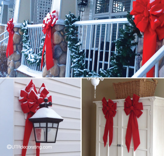Easy outdoor Christmas decorating ideas with red bows
