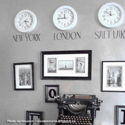 hanging Clocks for different time zones - black & white
