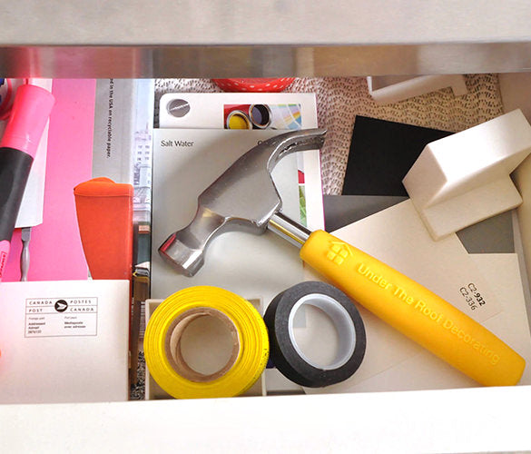 Hammer laying in drawer