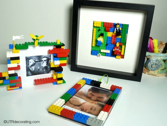 3 examples of completed Lego frame DIY projects with photos