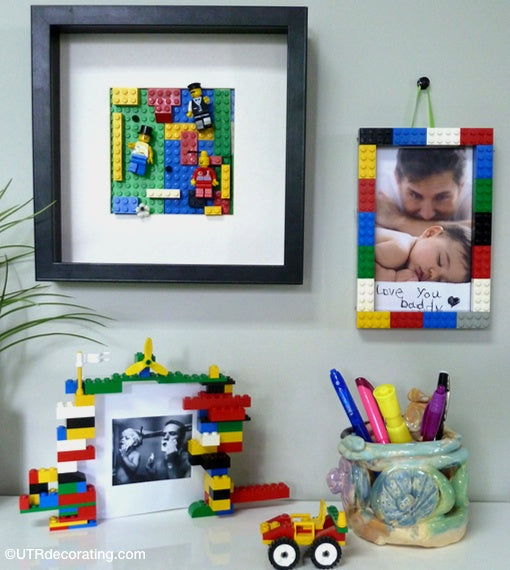 gift ideas for Father's day - Lego picture frames hanging on the wall with kids pictures