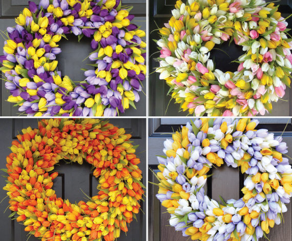 tulip wreath in 4 different color combinations