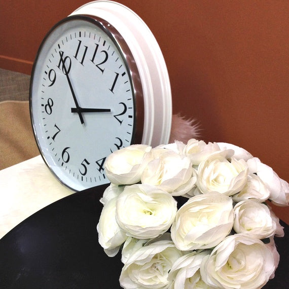 Hanging a large clock & flowers