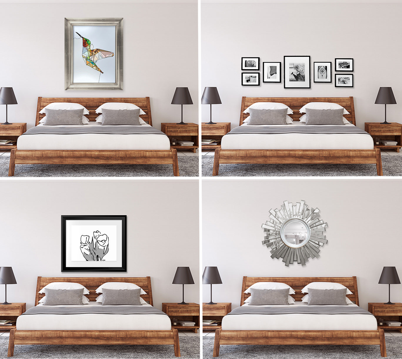 Four different types of arrangement in a bedroom