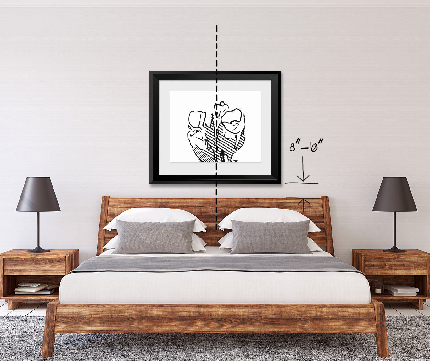 How to align artwork over a bed