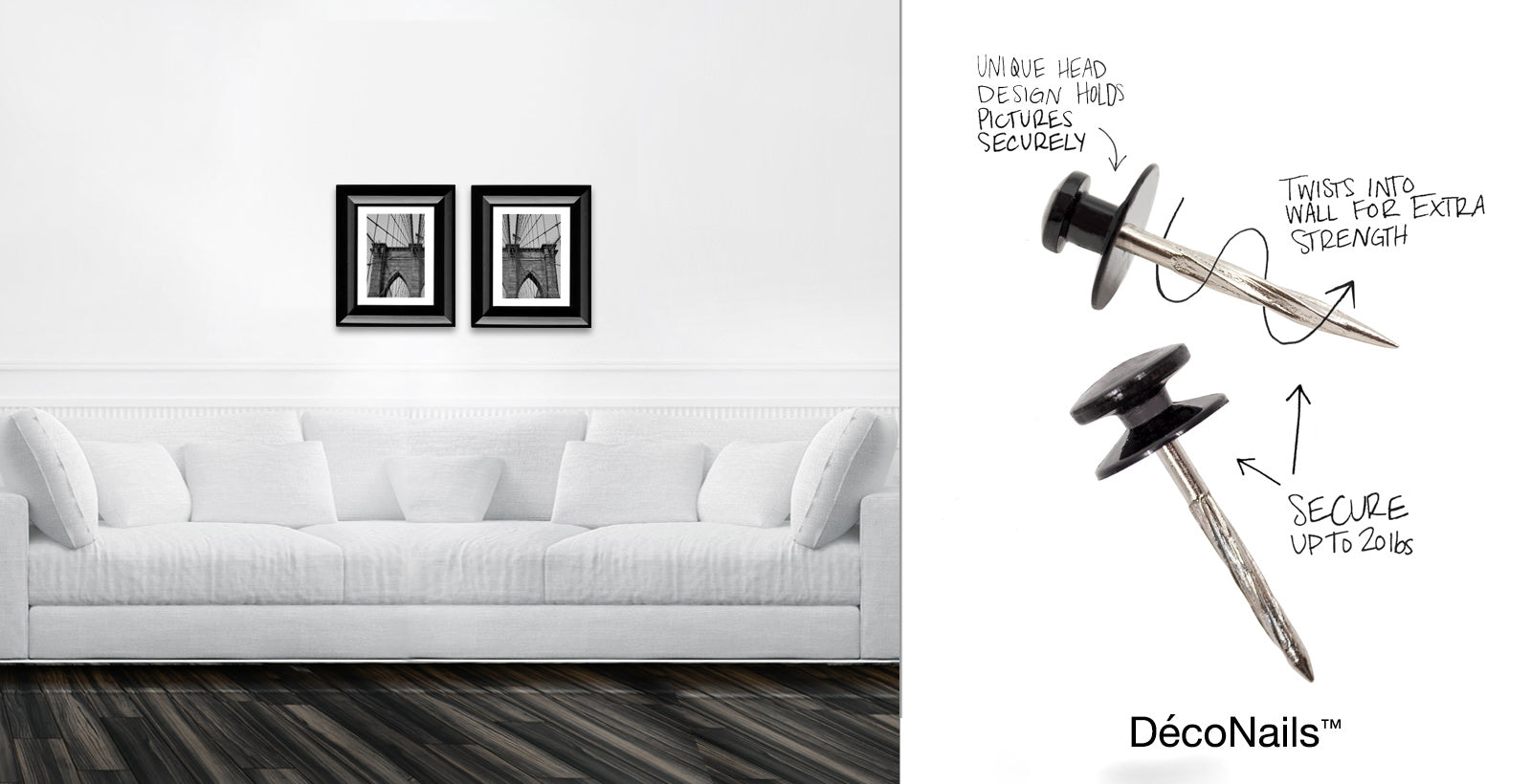 Hang wall decor in drywall using DécoNails™