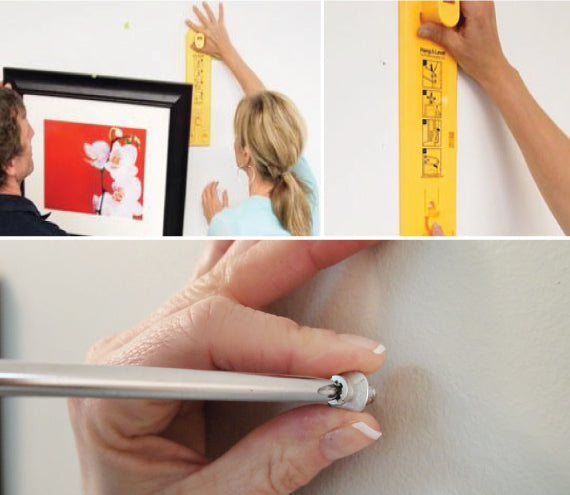 first steps in how to hang a large picture using Hang & Level and Déco Screws