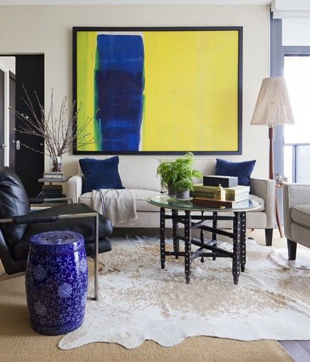 Large scale blue, yellow artwork