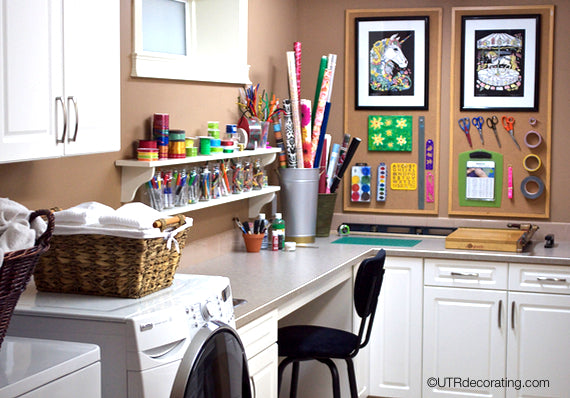 Dual purpose laundry room and craft project room perfect for a busy family with young kids