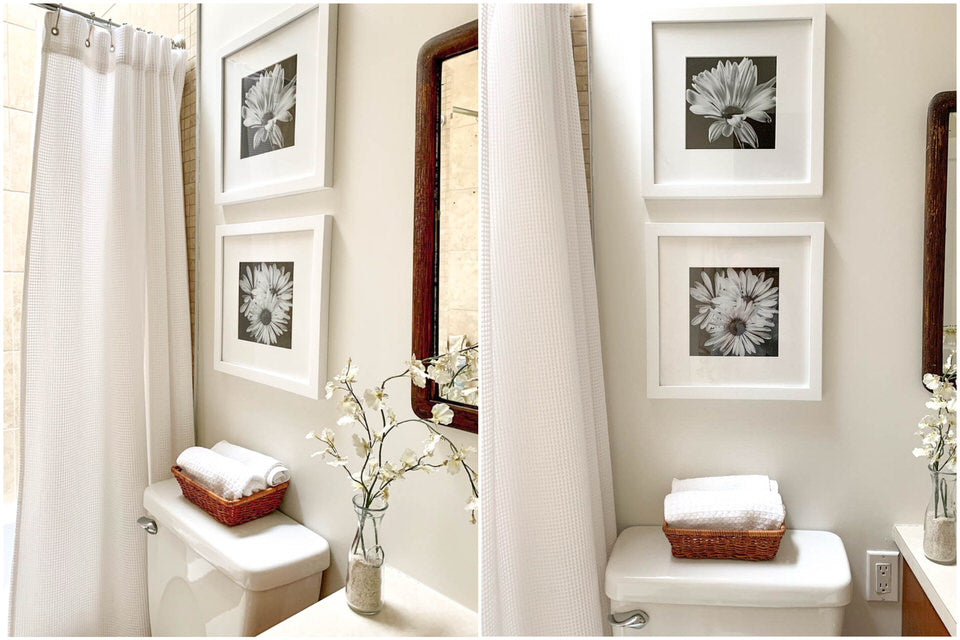 2 frames hung above a toilette