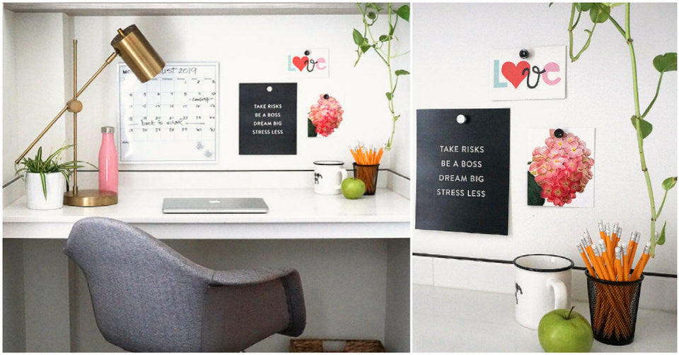 Examples of desk styling with lights and posters
