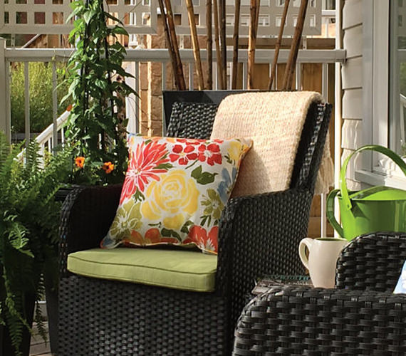 two patio chairs with outdoor décor