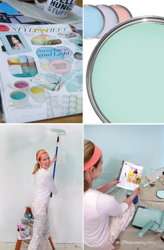 page of O magazine, pastel paint colors and painting our wall with a pastel teal