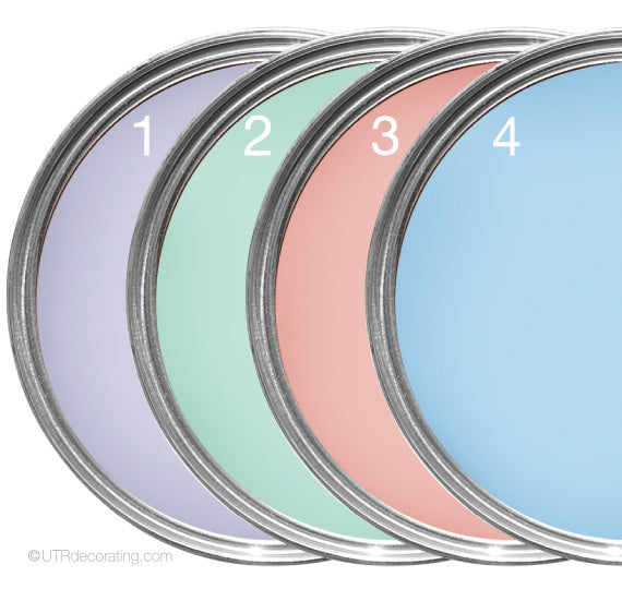 4 paint colors: lavender, teal, pink and light blue
