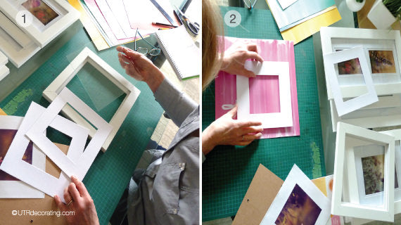 DIY spring decorating idea steps 1 and 2: choosing frames and paper
