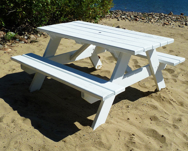Newly painted picnic table in stunning white