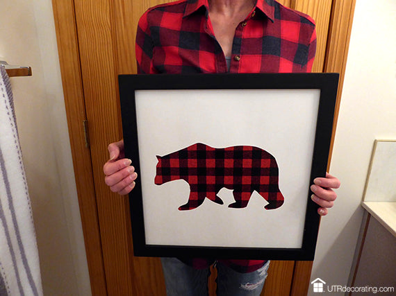 Plaid, DIY art, animals, cabin, bathroom, hang frames
