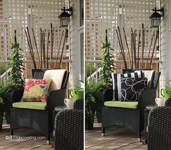 Decorating front porch for summer: create 2 differently looks simply by swapping cushions