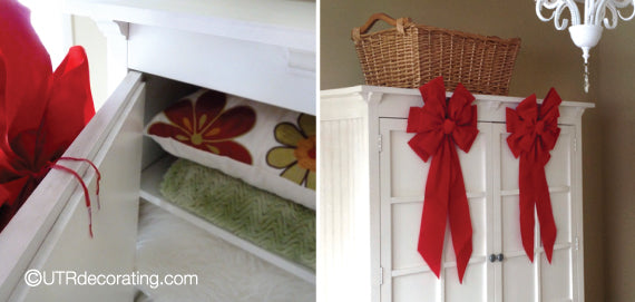 Add a touch Xmas to your guest bedroom with these red bows
