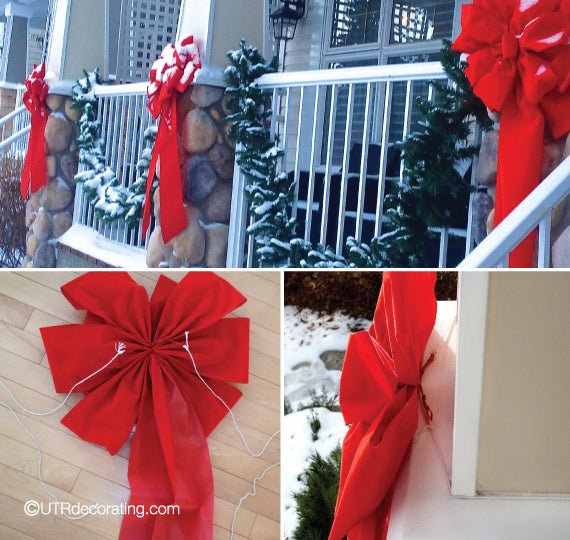 Here's how we secured the red bows to the columns of the balcony