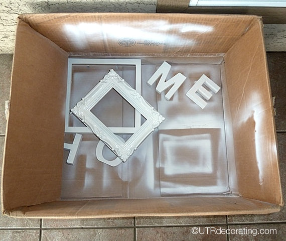 Spray painting without mess using a cardboard box