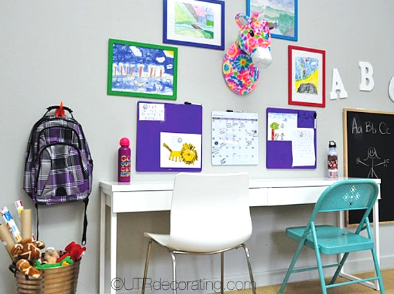 Create a study space for young kids that is comfortable and colourful. A place they will want to go to to do their homework.