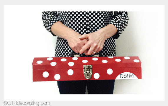"Toolbox ""Dottie"" with evenly spaced white polka dots"