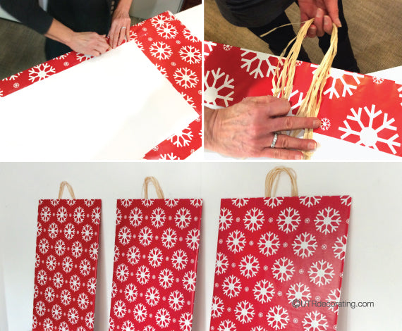 steps for making DIY Christmas decor using holiday wrapping paper and raffia