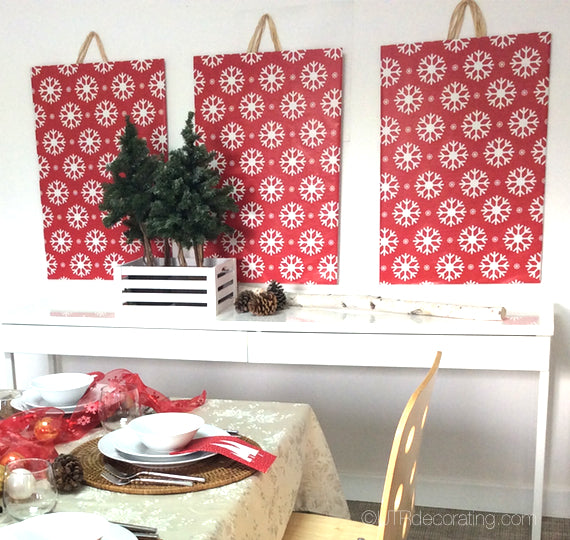 Holiday wall art using wrapping paper
