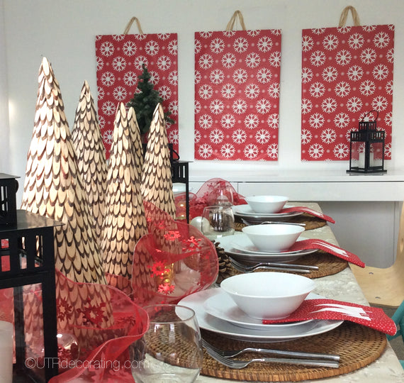 DIY Christmas décor - wall art panels made with holiday wrapping paper