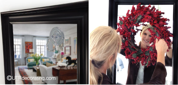 How to hang a Christmas wreath on a mirror using a plastic suction cup