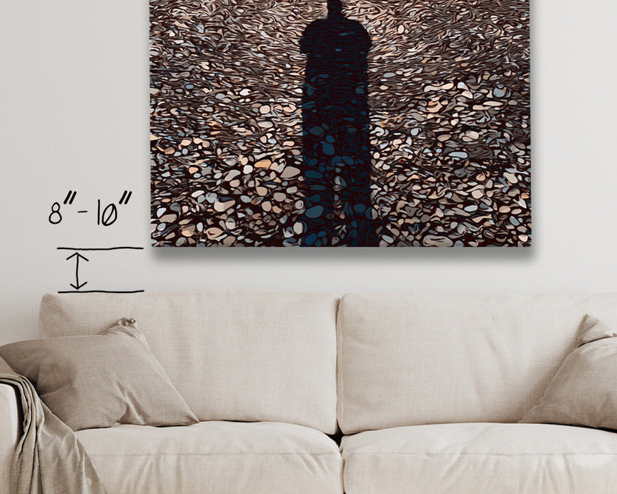 your art should hang 8-10 inches about your furniture