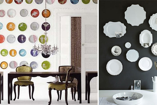 colorful plates hanging on walls in two different types of groupings