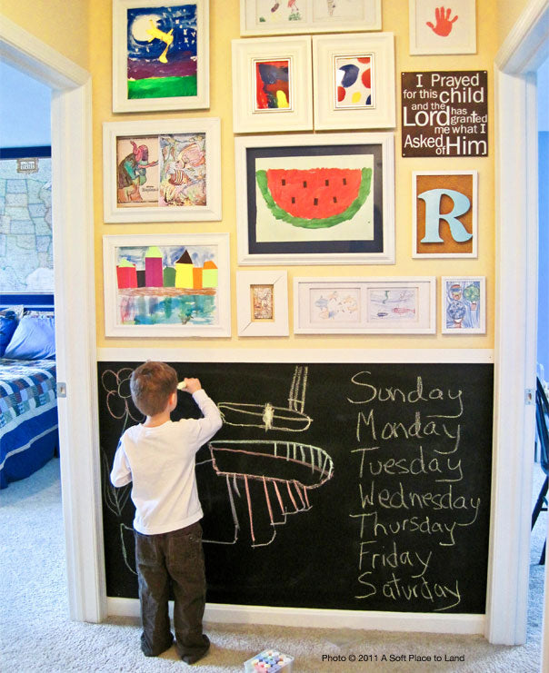 Gallery wall with blackboard