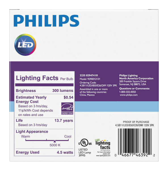 B11 Philips 4.5W Dimmable Candelabra Daylight White Med Base Indoor (6 Pack) image 922284163096