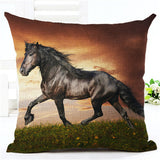 Horse pillow black horse in sunset