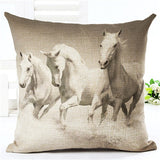 Horse pillow all white horse face right