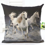Horse pillow white horse black back
