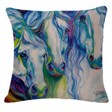 Horse pillow white horses colorful manes