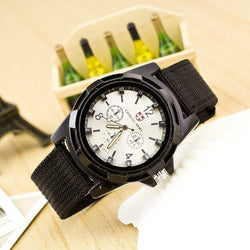 military style watch white face