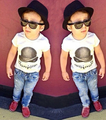 Toddler White T-Shirt with Demin