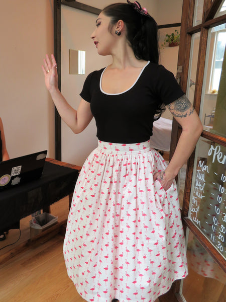 Pink Flamingo Print Skirt