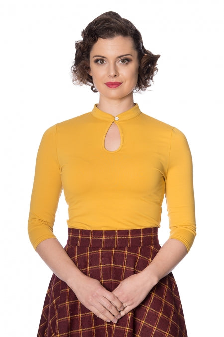 PEEK A BOO MANDARIN COLLAR TOP MUSTARD