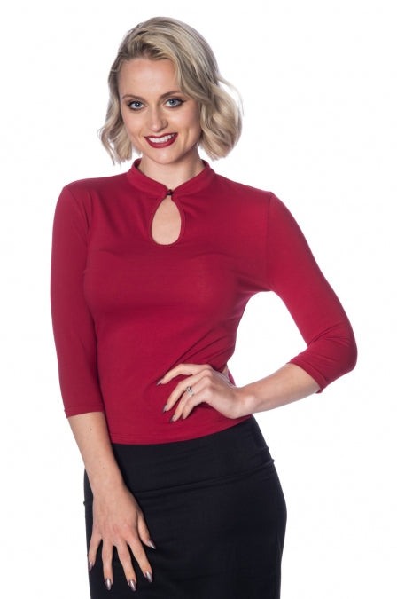 PEEK A BOO MANDARIN COLLAR TOP DEEP RED
