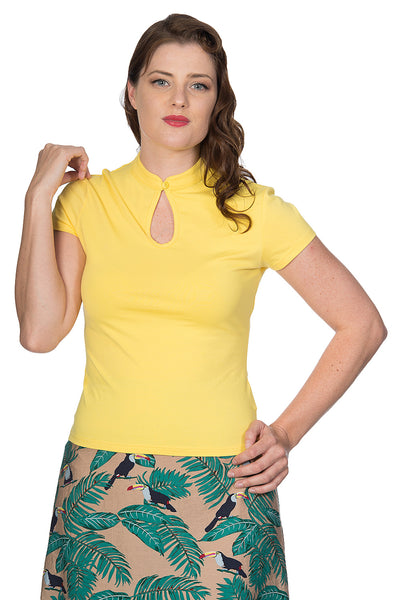 PEEK A BOO MANDARIN COLLAR TOP YELLOW