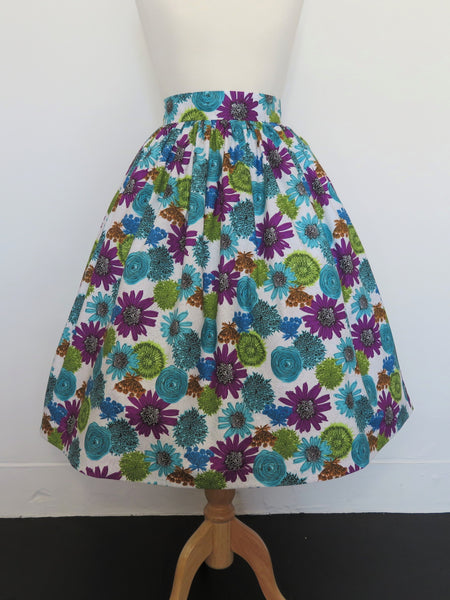 'Margie' Skirt in Cotton Blue/Purple Floral Print