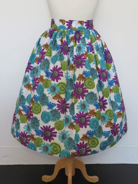 It's So You!-Blue and Purple Floral Gathered Waist Skirt