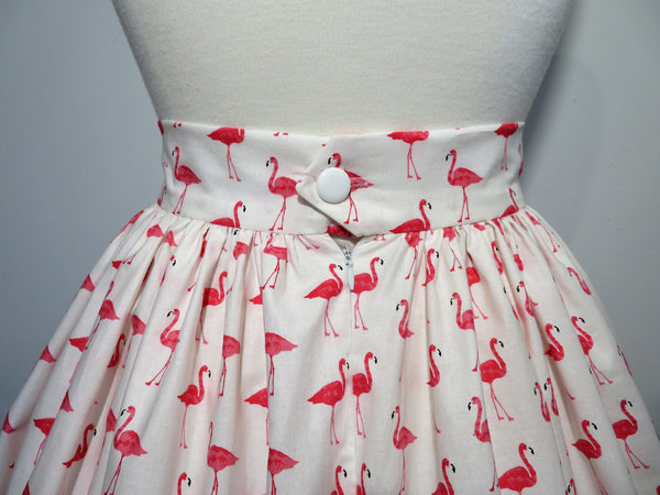 'Margie' Skirt in Cotton Pink Flamingo Print