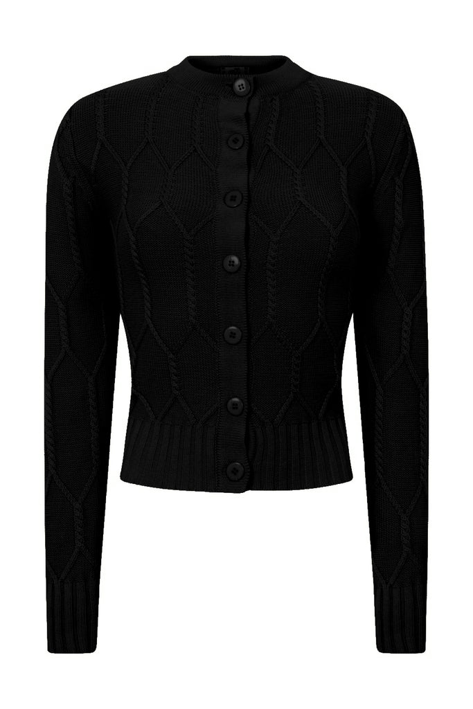 Banned Cable Knit Black Cardigan
